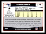 2006 Topps #139  Deion Branch  Back Thumbnail