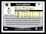 2006 Topps #6  David Garrard  Back Thumbnail