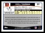 2006 Topps #31  Odell Thurman  Back Thumbnail
