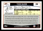 2006 Topps #34  Todd DeVoe  Back Thumbnail