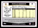 2006 Topps #5  Marcus Robinson  Back Thumbnail