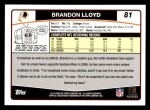 2006 Topps #81  Brandon Lloyd  Back Thumbnail