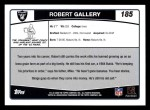 2006 Topps #185  Robert Gallery  Back Thumbnail