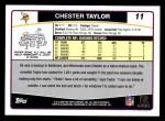 2006 Topps #11  Chester Taylor  Back Thumbnail