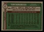 1976 Topps #87  Tom Burgmeier  Back Thumbnail