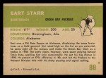 1961 Fleer #88  Bart Starr  Back Thumbnail