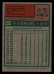 1975 Topps Mini #545  Billy Williams  Back Thumbnail