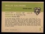 1961 Fleer #3  Willie Galimore  Back Thumbnail