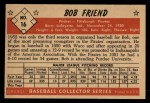 1953 Bowman #16  Bob Friend  Back Thumbnail