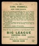 1933 Goudey #230  Carl Hubbell  Back Thumbnail