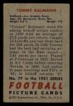 1951 Bowman #77  Tom Kalmanir  Back Thumbnail