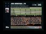 2007 Topps #345  Joe Newton  Back Thumbnail