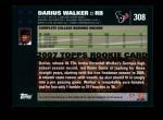2007 Topps #308  Darius Walker  Back Thumbnail