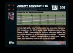 2007 Topps #209  Jeremy Shockey  Back Thumbnail