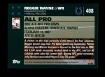 2007 Topps #408   -  Reggie Wayne Pro Bowl Back Thumbnail