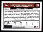 2008 Topps #123  Laurent Robinson  Back Thumbnail