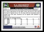 2008 Topps #106  T.J. Duckett  Back Thumbnail