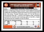 2008 Topps #145  Braylon Edwards  Back Thumbnail