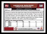 2008 Topps #119  Anquan Boldin  Back Thumbnail