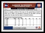 2008 Topps #215  Aaron Schobel  Back Thumbnail