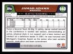 2008 Topps #440  Jamar Adams  Back Thumbnail