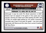 2008 Topps #302   -  Terrell Owens Pro Bowl Back Thumbnail