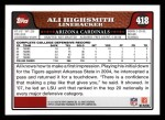 2008 Topps #418  Ali Highsmith  Back Thumbnail