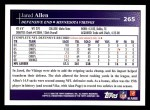 2009 Topps #265  Jared Allen  Back Thumbnail