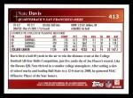 2009 Topps #413  Nate Davis  Back Thumbnail