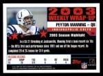 2004 Topps #294   -  Peyton Manning Weekly Wrap-Up Back Thumbnail