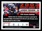 2004 Topps #307   -  LaDainian Tomlinson Weekly Wrap-Up Back Thumbnail