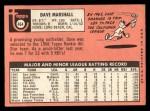 1969 Topps #464 YN Dave Marshall  Back Thumbnail