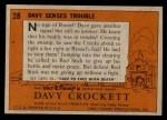1956 Topps Davy Crockett #28   -    Davy Senses Trouble  Back Thumbnail