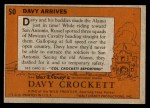 1956 Topps Davy Crockett #50   Davy Arrives  Back Thumbnail