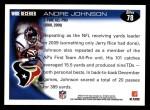 2010 Topps #78  Andre Johnson  Back Thumbnail