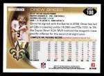 2010 Topps #100  Drew Brees  Back Thumbnail