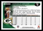 2010 Topps #76  Donald Driver  Back Thumbnail
