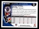 2010 Topps #50  Andre Johnson  Back Thumbnail