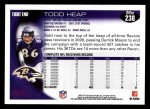 2010 Topps #238  Todd Heap  Back Thumbnail