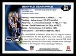 2010 Topps #385   -  Matt Hasselbeck / Julius Jones Seahawks Team Back Thumbnail