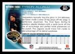 2010 Topps #387  Tyson Alualu  Back Thumbnail