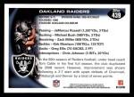 2010 Topps #439   -  Chaz Schilens Raiders Team Back Thumbnail