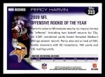 2010 Topps #333  Percy Harvin  Back Thumbnail