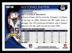 2010 Topps #380  Antonio Gates  Back Thumbnail