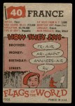 1956 Topps Flags of the World #40   France Back Thumbnail