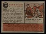 1962 Topps #116 NRM Herb Score  Back Thumbnail