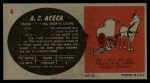 1961 Topps Sports Cars #4   A.C. Aceca Back Thumbnail