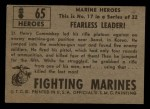 1953 Topps Fighting Marines #65   Fearless Leader Back Thumbnail