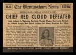 1954 Topps Scoop #84   Chief Red Cloud Defeated Back Thumbnail