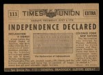 1954 Topps Scoop #111   Declaration Of Independence Back Thumbnail